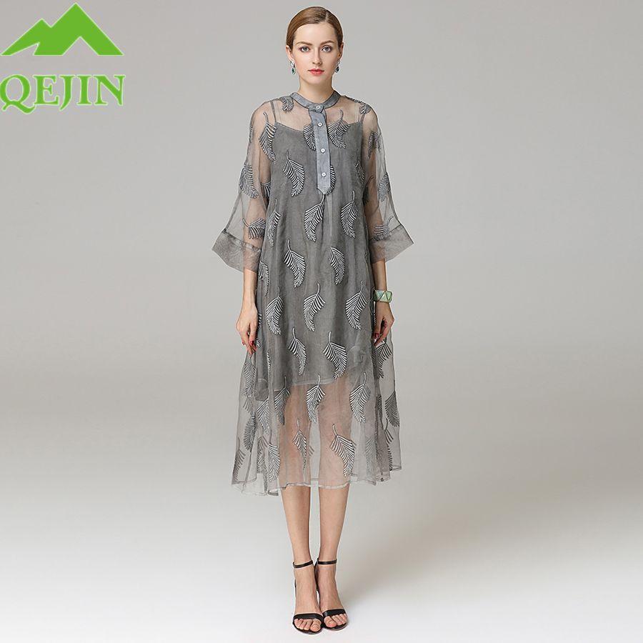 Long summer silk dresses