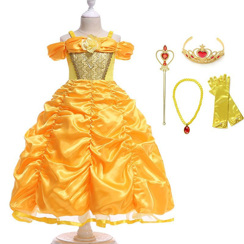 Kids Girls Beauty and the Beast Belle Fancy Dress Princess Cosplay Costume Child