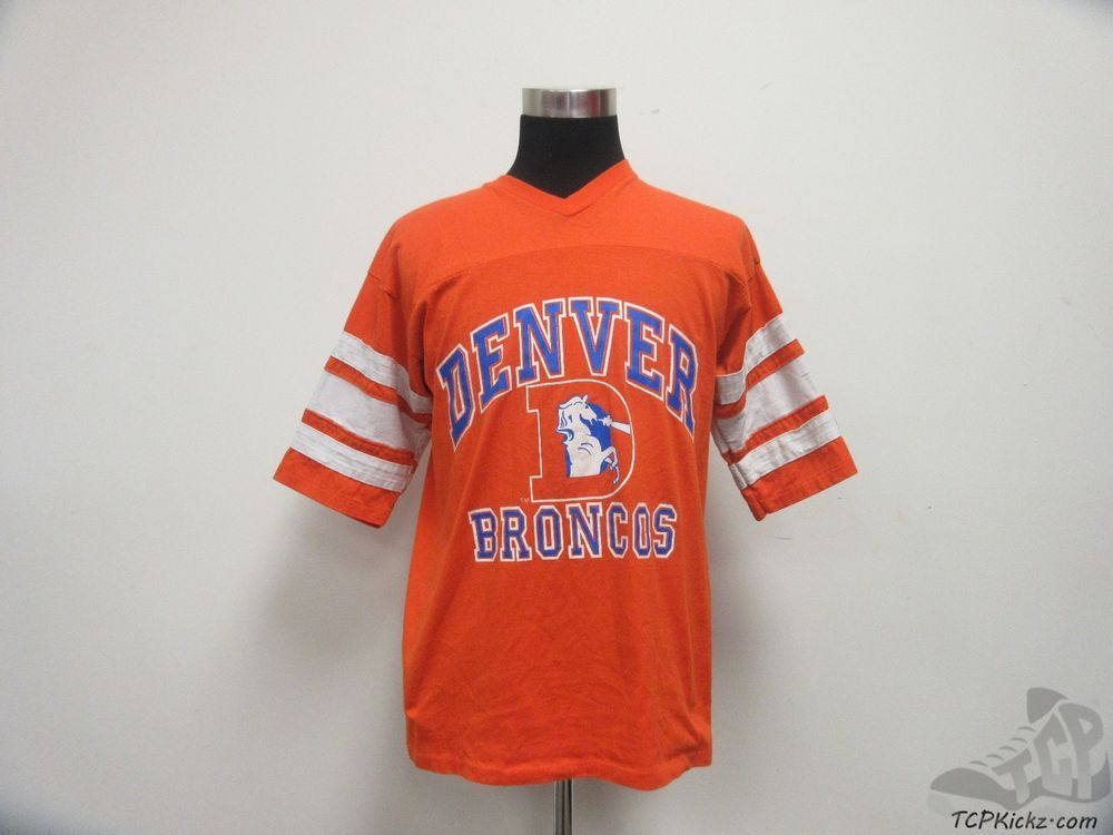 Vtg 80s 90s Logo 7 Denver Broncos V Neck Short Sleeve t Shirt sz XL Extra Large #Logo7 #DenverBroncos #tcpkickz