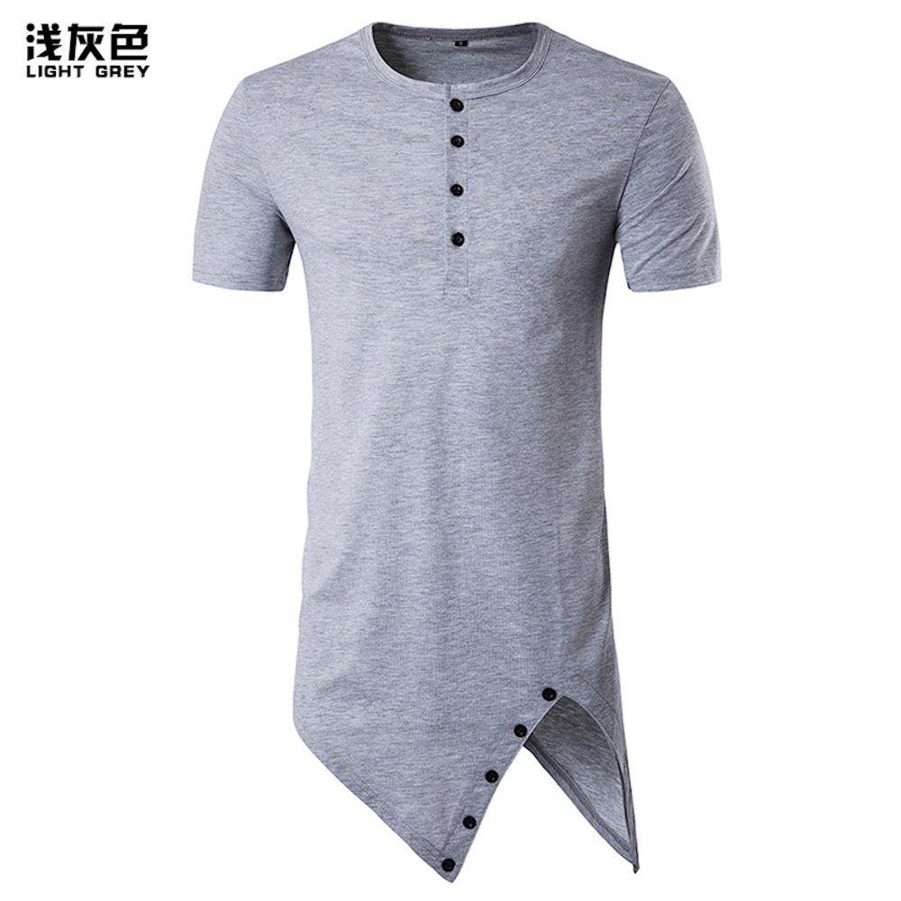 Verano 2018 de los hombres Hipster hip hop manga corta botón TRIM split  Longline T Camisas Swag extendido Camisetas Tees o Masajeadores de cuello  ropa ... e61b46e3f83