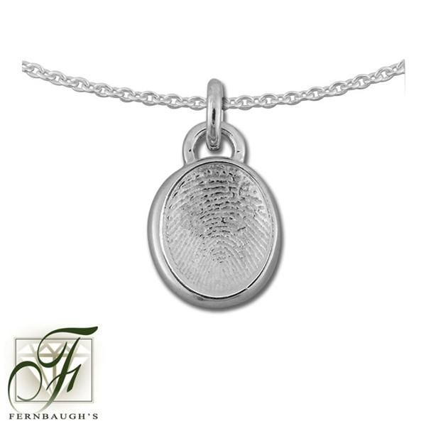 Sterling Silver, or 14K White Gold - 11mm Fingerprint w/Bail - (Sterling Silver includes chain, 14K White gold does not include chain) $169.99