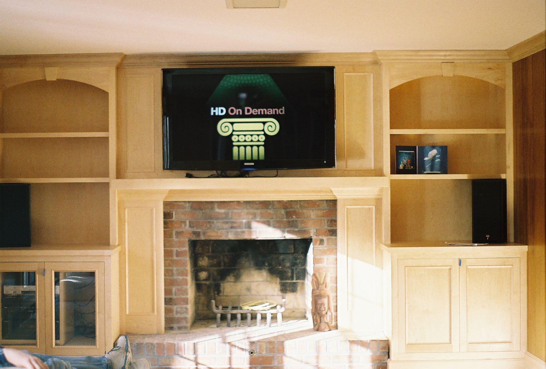 Custom Made Maple Entertainment Center Fireplace