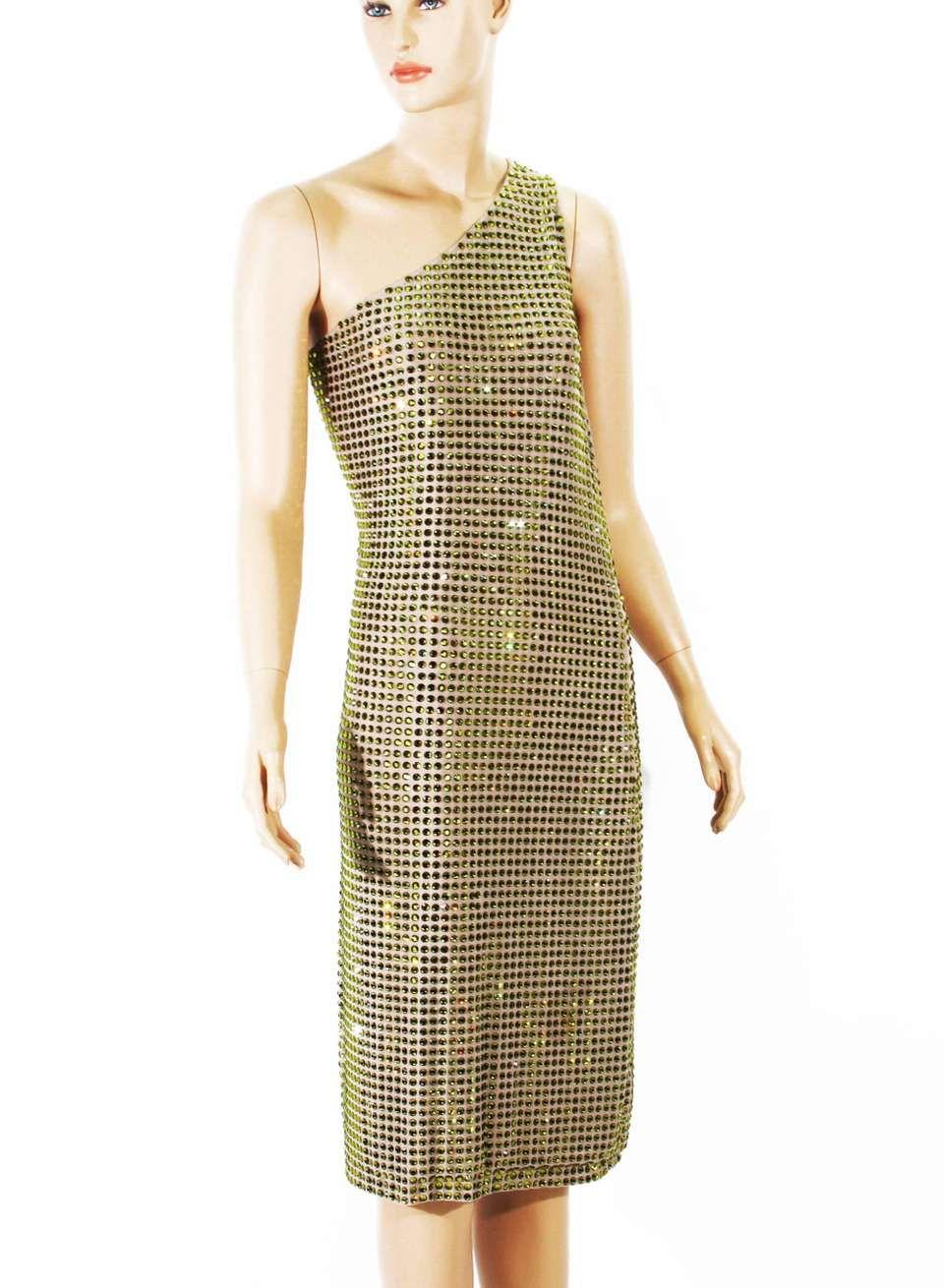 4196478a0ba For Sale on 1stdibs - Tom Ford for Gucci Documented Fully Crystal  Embellished One Shoulder Dress Spring/Summer 2000 Collection Designer size  42 Green ...