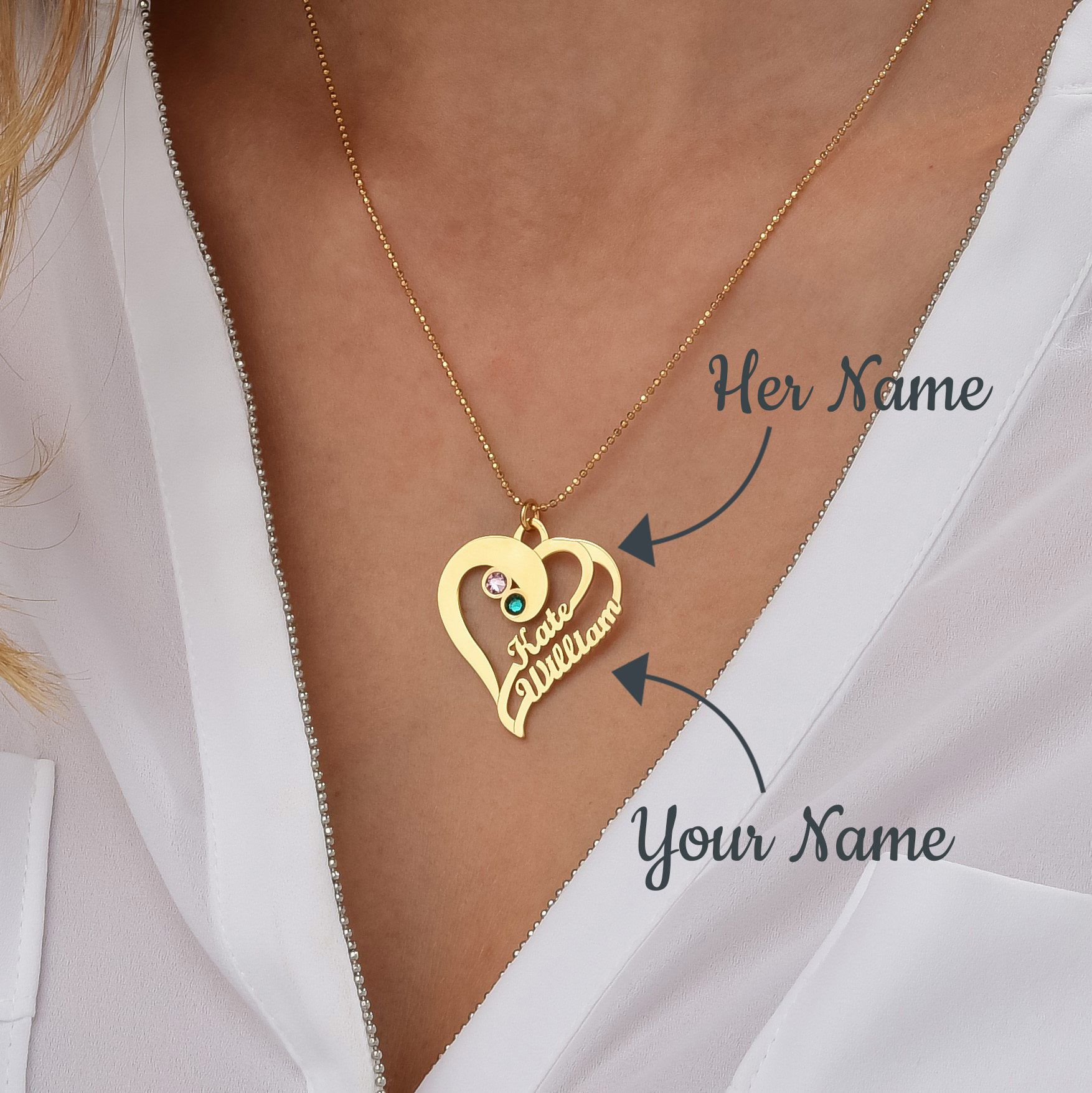 Personalized Heart Name Necklace Two Hearts Forever One