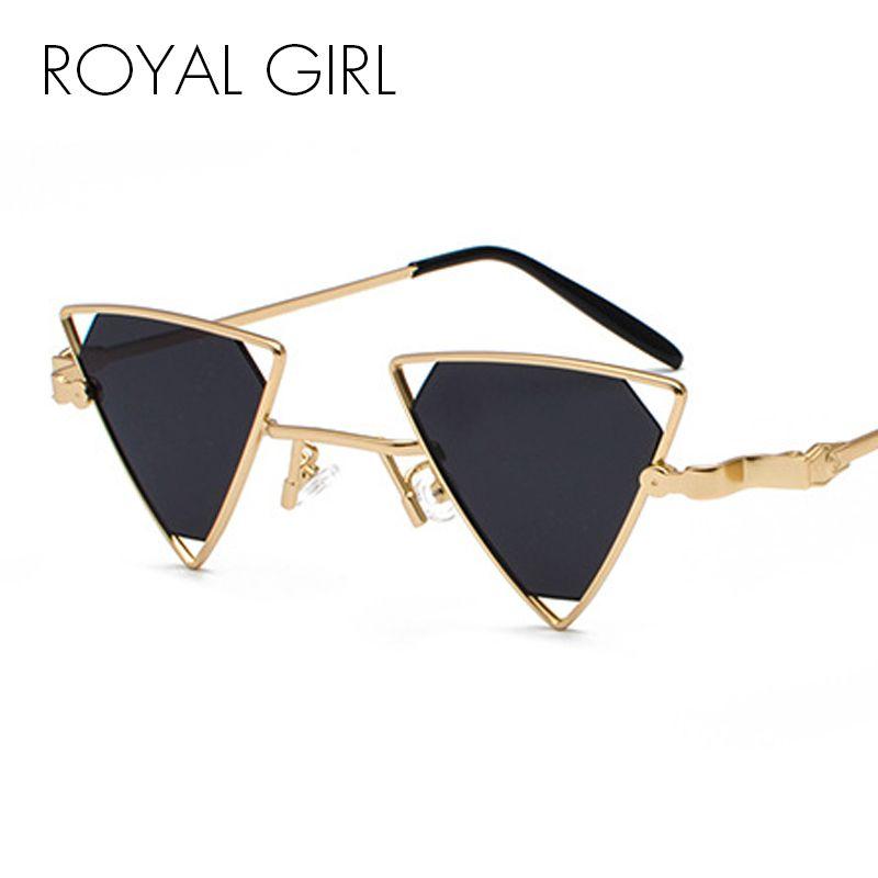 ROYAL GIRL Vintage Punk Triangle Sunglasses Women Men Metal Frame ...