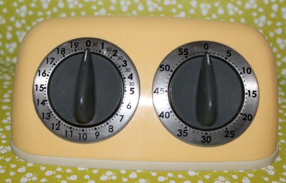 Vintage Yellow Amco Dual Kitchen Timer Double Timer Two Timer
