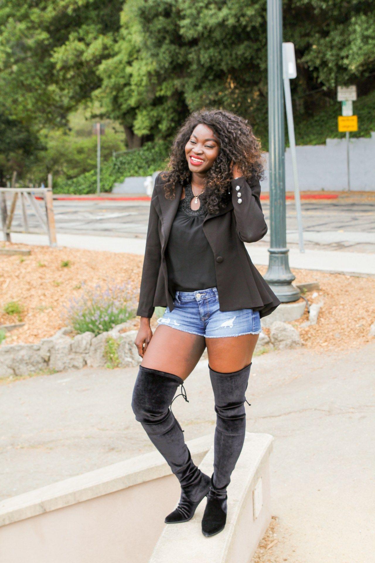 460f9a04ff3 Leggy Lady  Over the knee boots and denim shorts – Dafrastar
