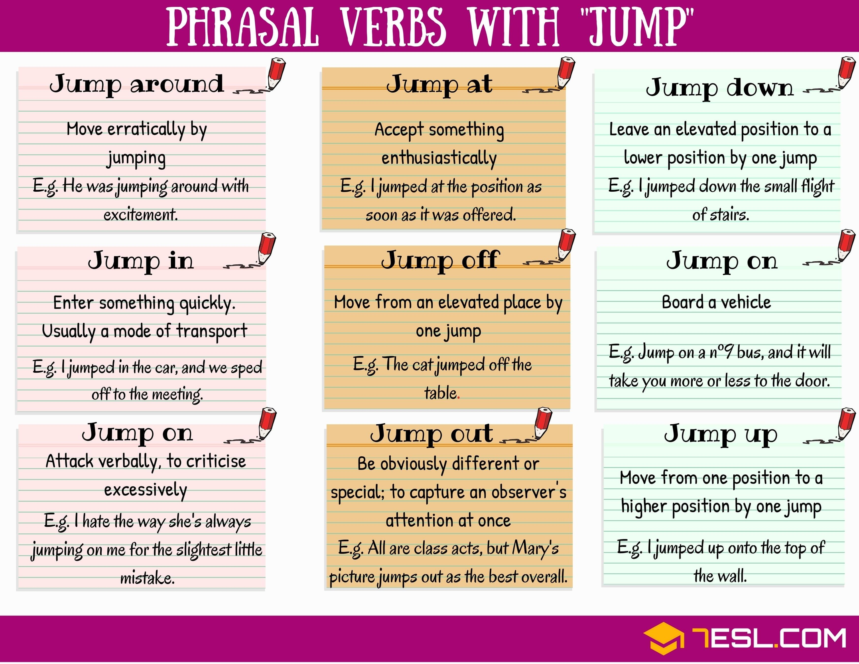 Phrasal Verbs With Jump Jump Down Jump Off Jump Out Jump Up 7esl English Phrases Idioms English Vocabulary Words English Language Learning [ 2318 x 3000 Pixel ]