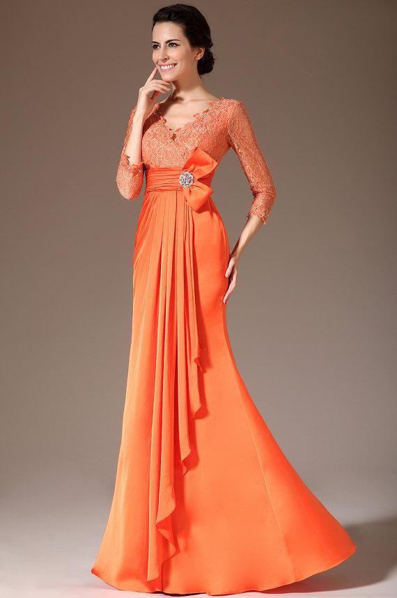 Sheath V-Neck Lace Top 3/4-Sleeves Orange Mother Prom Gowns V-Back ...
