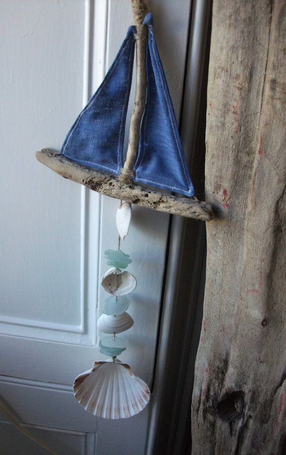 Driftwood Boat ,Seaglas , Shell and Fabric Fish Mobile - Hanging - Scottish Driftwood- Seaglass
