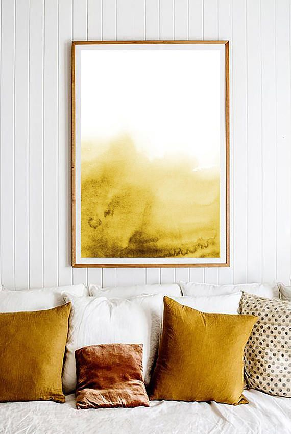 Yellow Watercolor Print. Golden Yellow Print. Yellow Wall Art ...