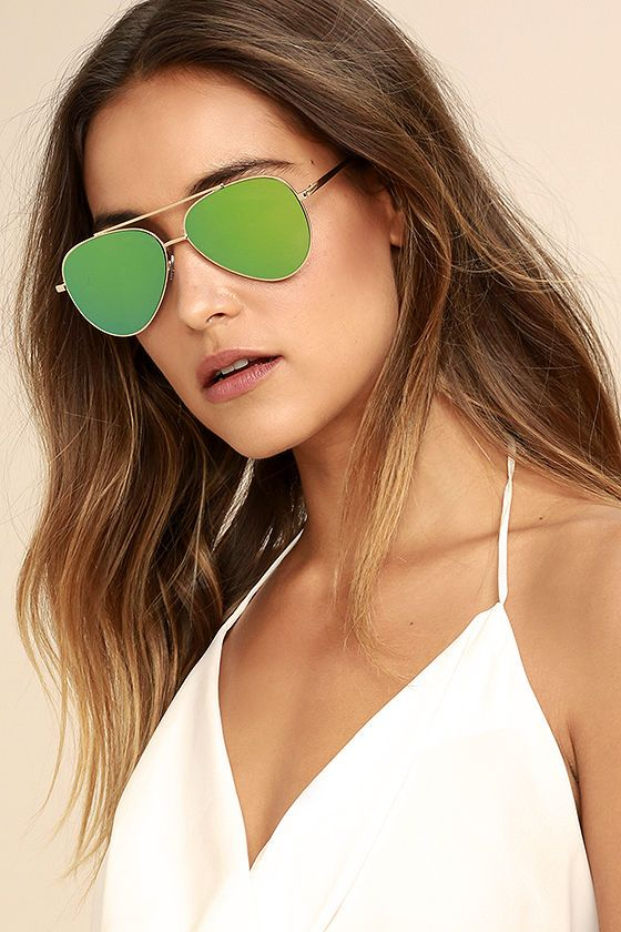ce93136d1407 Perverse Bronson Gold and Green Mirrored Aviator Sunglasses ...