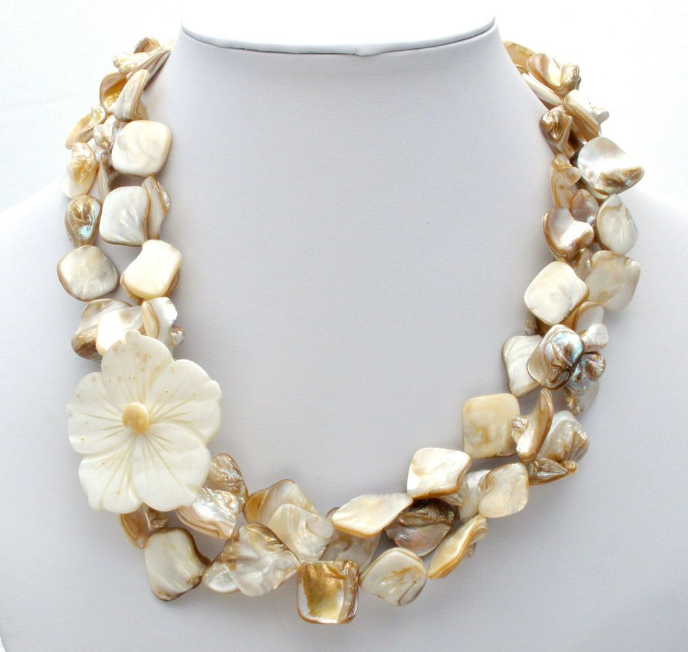 Carved Mother Of Pearl Abalone Shell Necklace Large Flower Multi Strand Jewelry