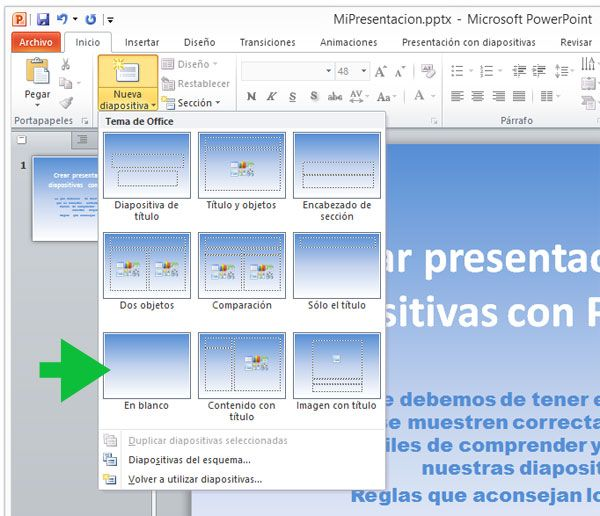 Agregar una nueva diapositiva en blanco en PowerPoint