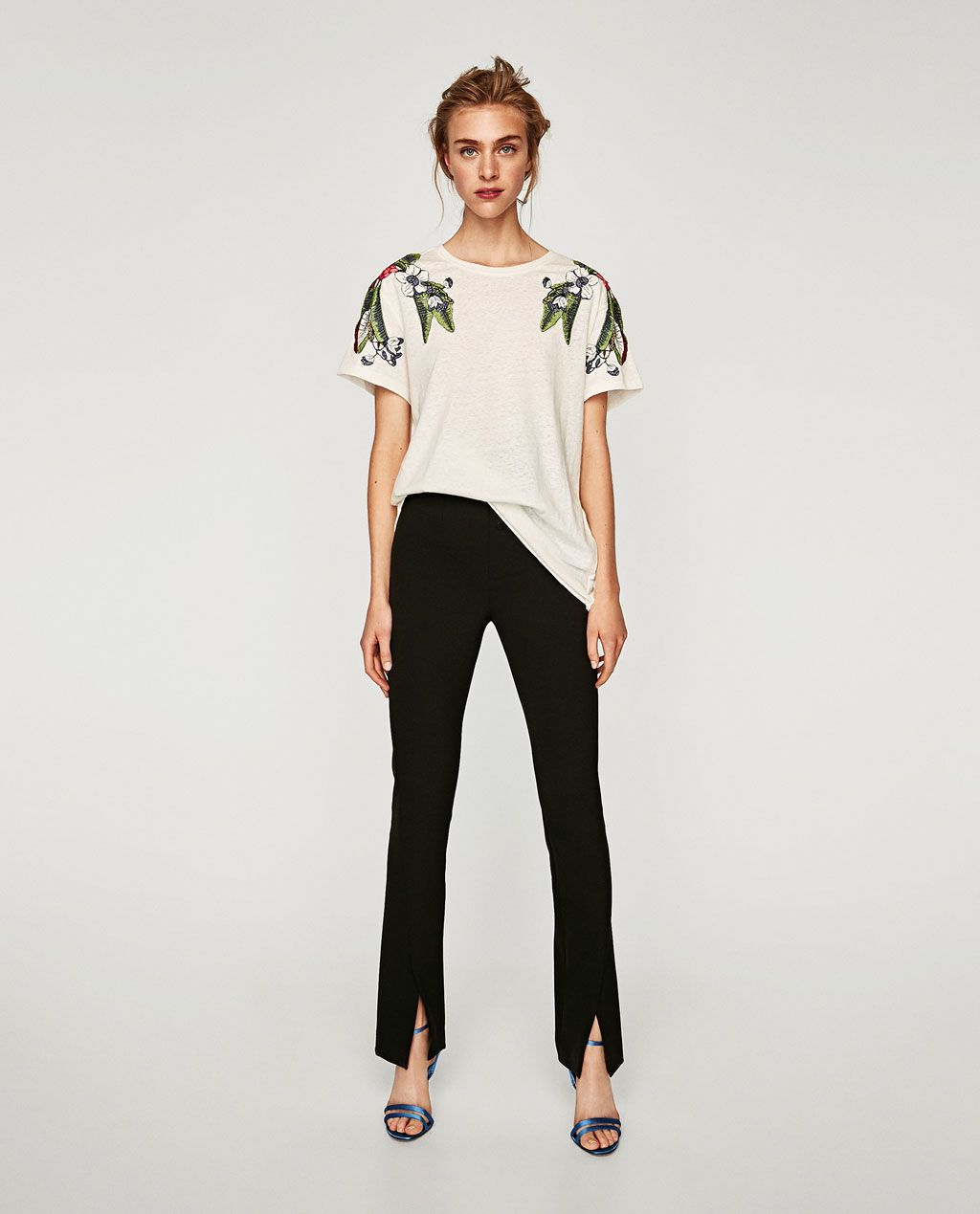 b5e593fd Image 1 of T-SHIRT WITH EMBROIDERED SHOULDERS from Zara | My Style ...