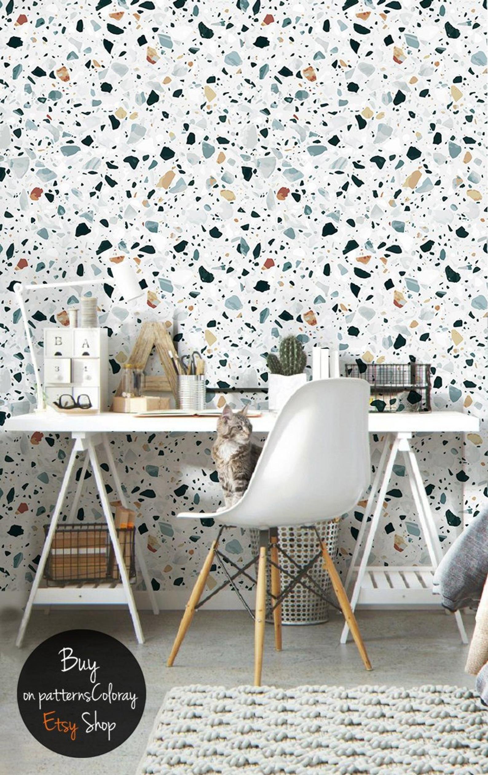 Geometric Texture Of Terrazzo Wallpaper Mosaic Wall Mural Peel