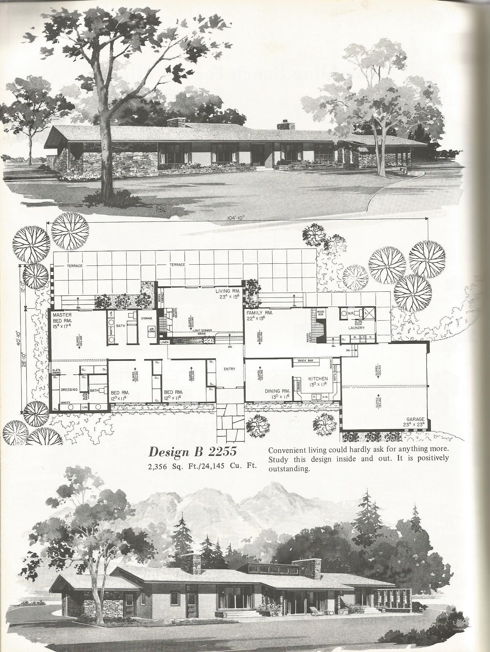 Mid Century Sprawling Ranch Vintage House Plans Ranch Style House Plans House Plans