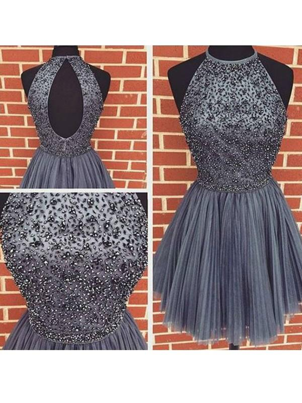 A-line Scoop Homecoming Dress Short Prom Drsess With Beading SKY855 ... 2bd74d382