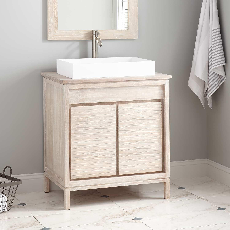30 Becker Teak Vessel Sink Vanity With Matching Top Whitewash