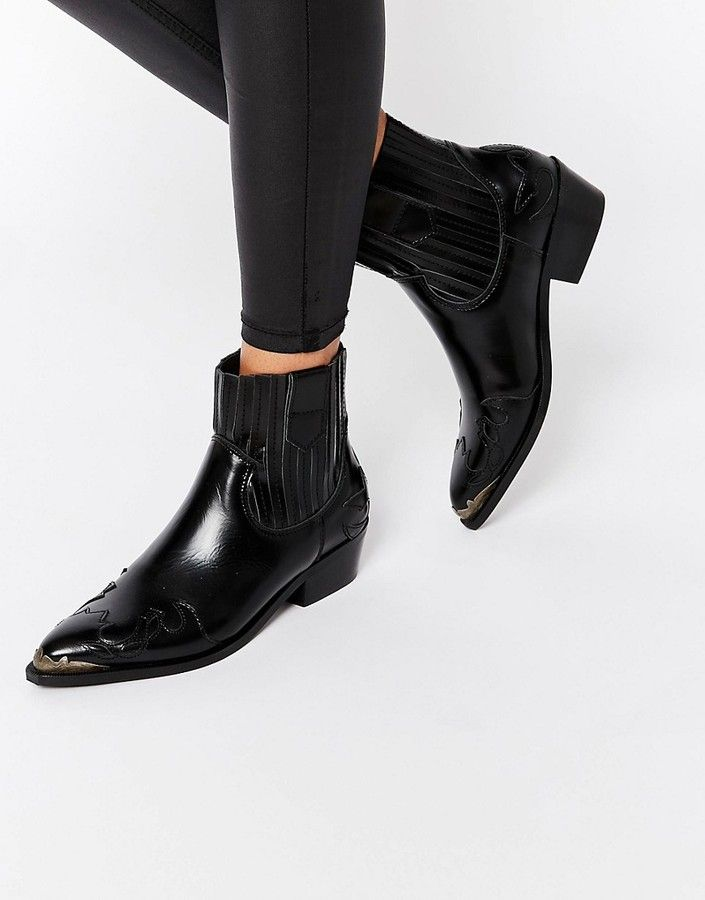 Boots, Ankle cowboy boots, Black steel
