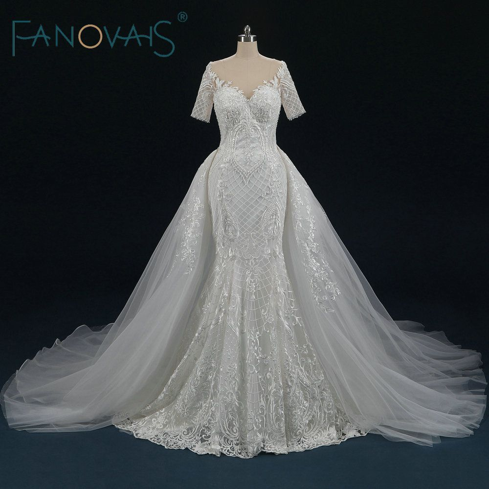 Traditional Wedding Gowns With Detachable Trains: Lace Mermaid Wedding Dresses Detachable Train Short Sleeve