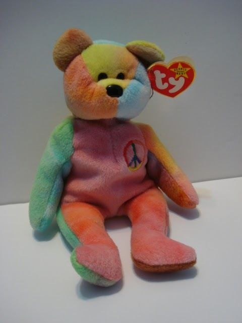 1e4828d6874 TY Beanie Baby Peace Bear made with  RARE  PVC Pellets Plush Toy ...