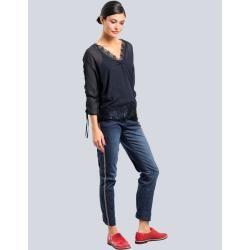 Alba Moda, Bluse mit aufwendigem Spitzenbesatz, blau Alba Moda #90ermode