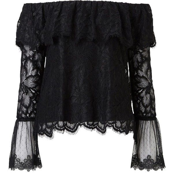 addac3b6d487 Witchery Lace Off Shoulder Top ( 76) ❤ liked on Polyvore featuring tops