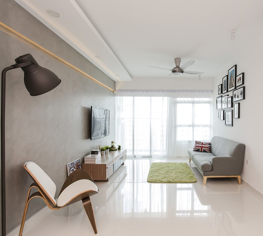 Punggol Walk, Scandinavian HDB, Clean White | Living Rooms ...