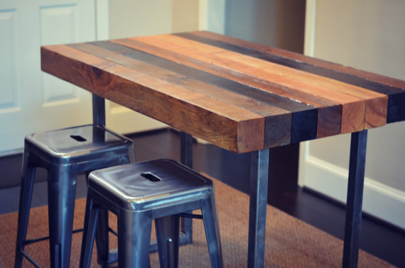 Multi Stained Counter Height Table Etsy Butcher Block Dining Table Kitchen Island Table Counter Height Table