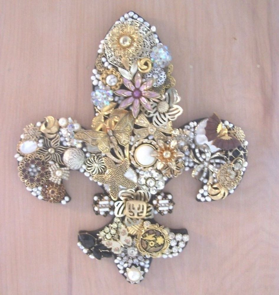 Fleur de Lis Collage Wall Art Unique Vintage Costume Jewelry French Royalty #Unbranded