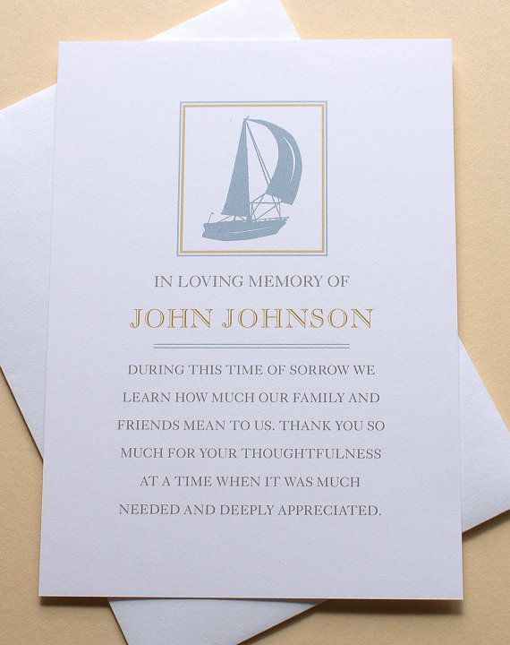 Funeral Thank You Cards With A Sail Boat  Custom  Flat Cards