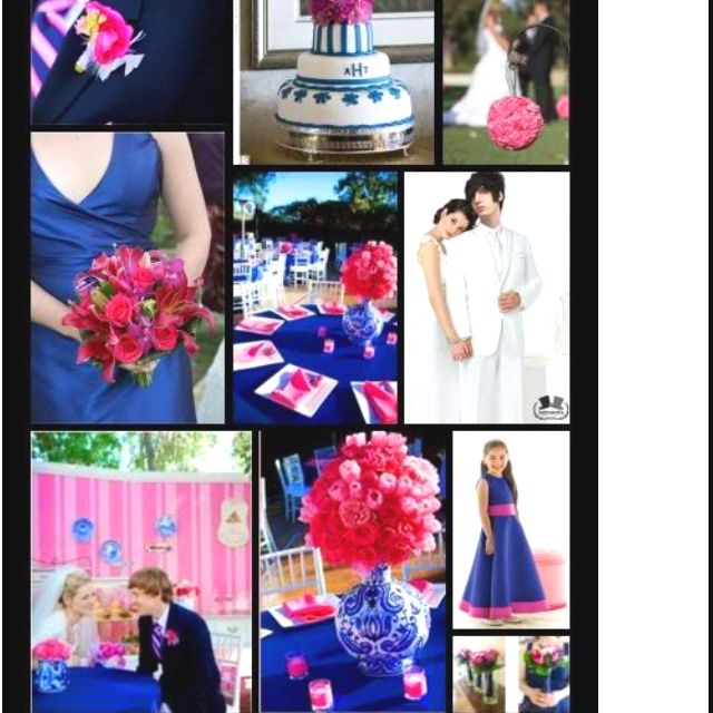 Blue And Pink Wedding Ideas: Wedding Color Scheme. Royal Blue And Bright Pink