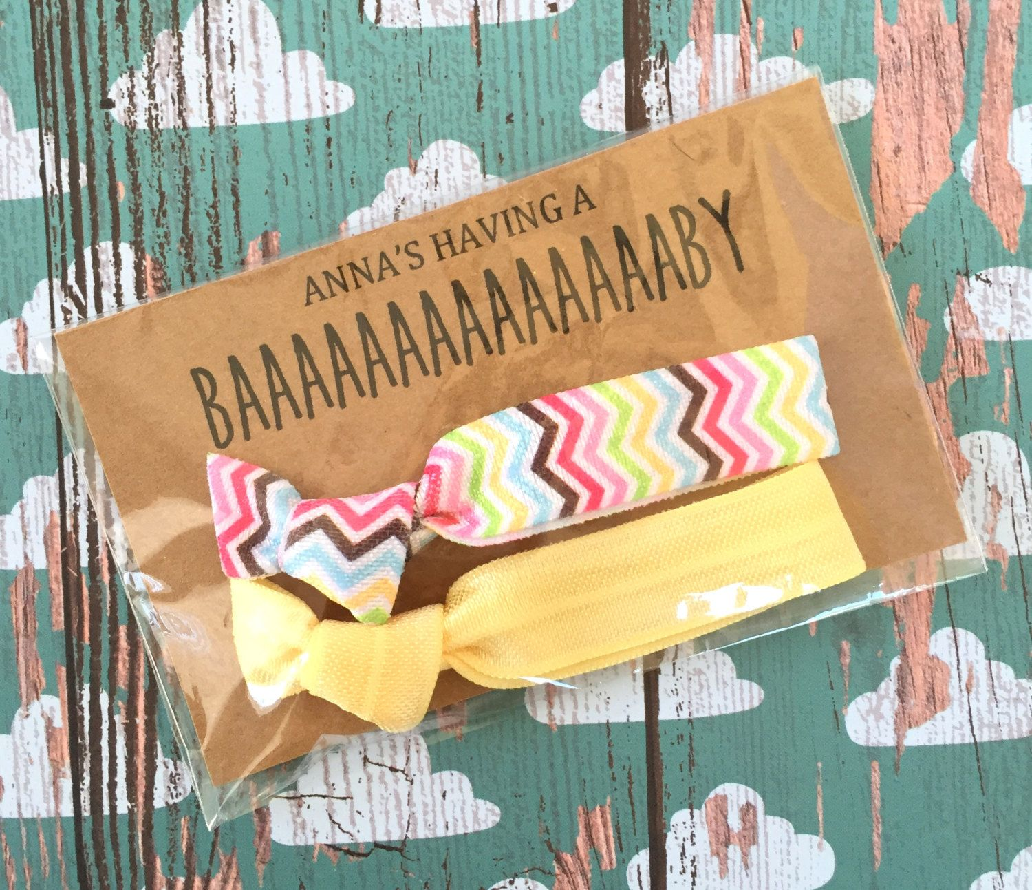 Gender Neutral Baby Shower Favors Bright Chevron Set of 2 Hair