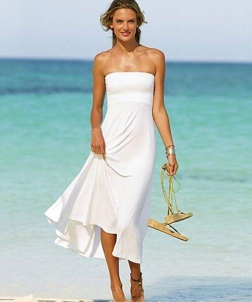 Simple Beach Summer Wedding Dresses With Tea Length Skirt Beach White Dress Casual Beach Wedding Dress White Dress Summer