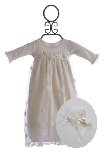 0e3cf8c26594 Katie Rose Baby Girl Ivory Lace Gown with Bonnet