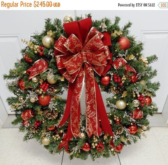 christmas wreath xl wreath 36 red wreath holiday. Black Bedroom Furniture Sets. Home Design Ideas