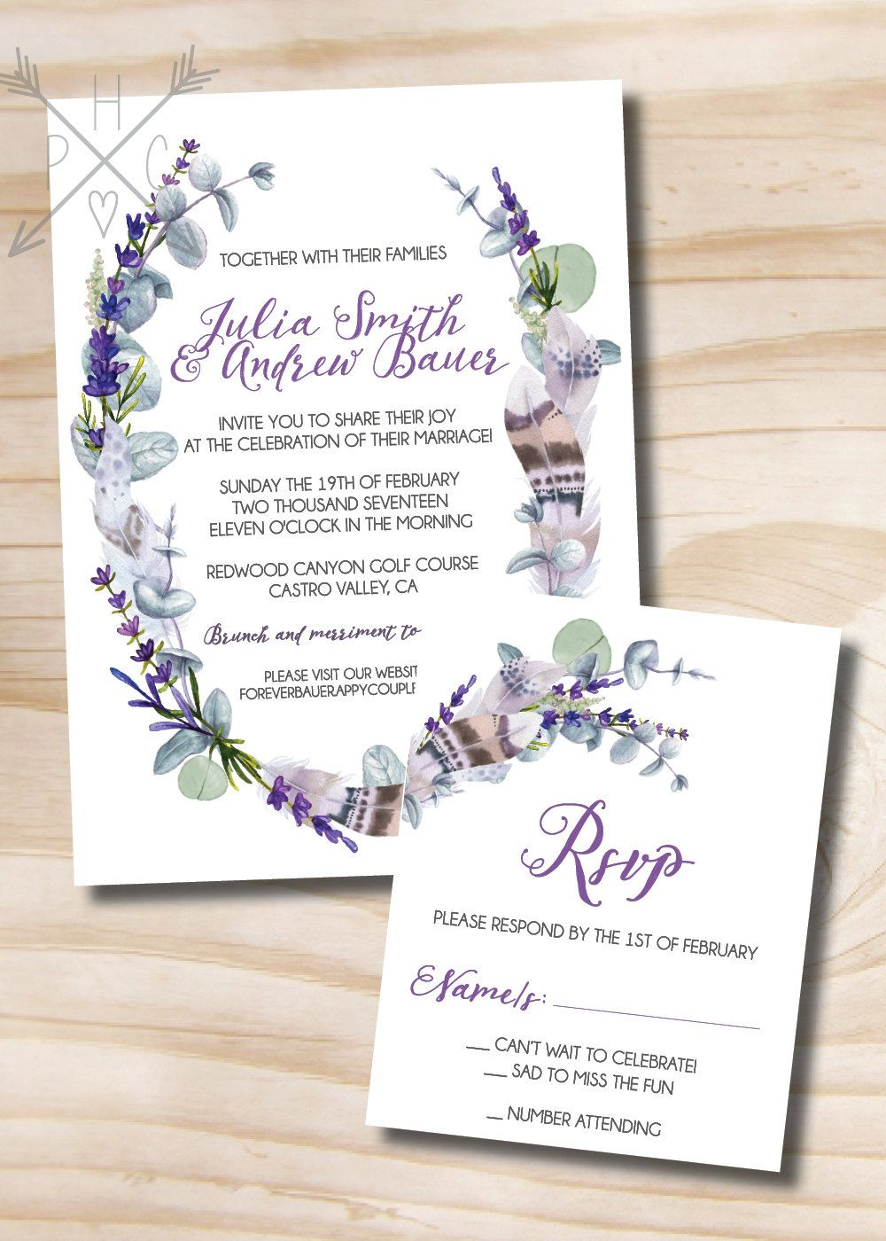 rustic feather eucalyptus and lavender wedding invitation and response card 100 professionally printed invitations - Lavender Wedding Invitations
