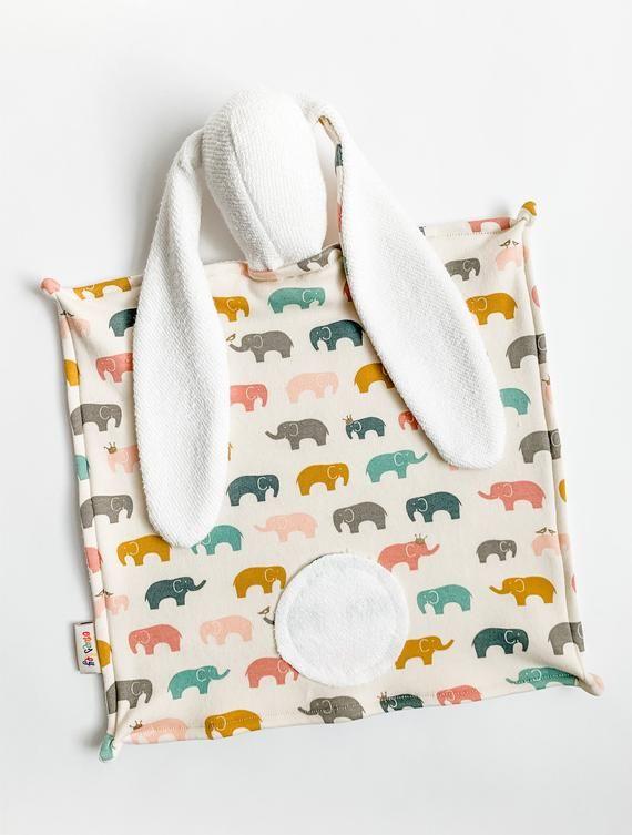 Organic Lovey.  Bunny Lovey. Animal Lovie. Pink Ellie Elephant. Security Blanket. Mini Baby Blanket. #securityblankets