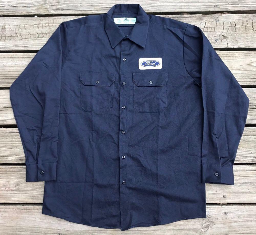 9f762fa5f3 Vintage 90s RED KAP FORD Navy Long Sleeve Mechanic Uniform Garage Shirt  Men's L #RedKap #ButtonFront