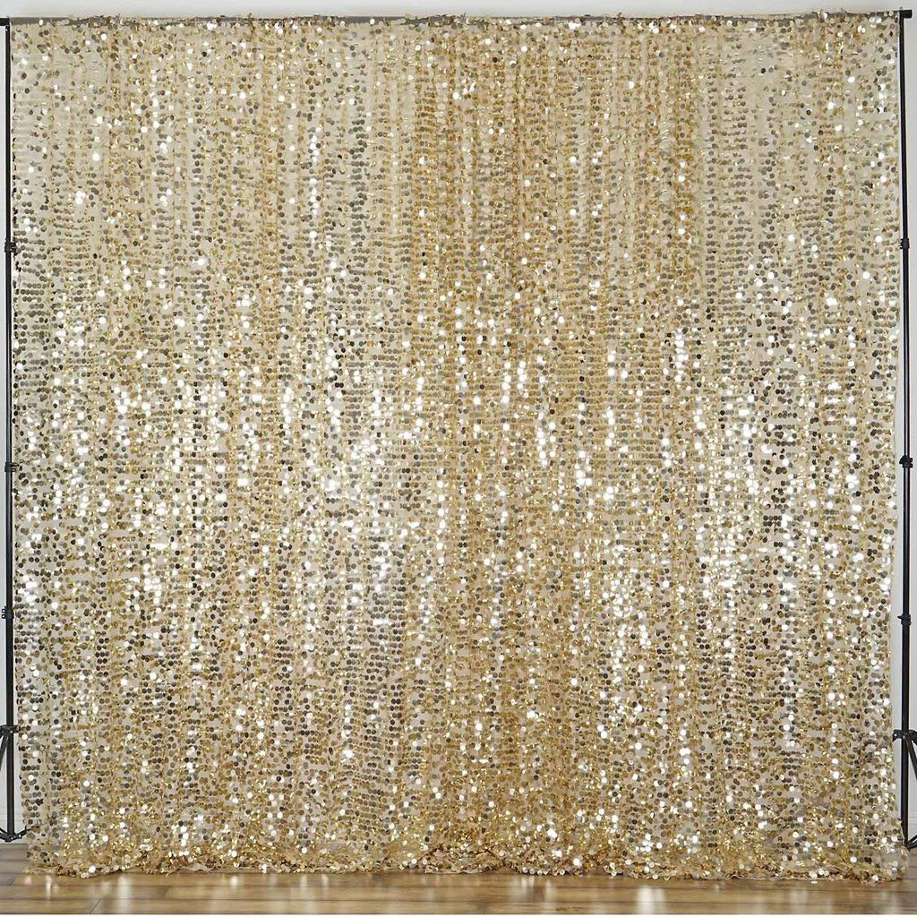 20ft Champagne Big Payette Sequin Curtain Panel Backdrop Wedding