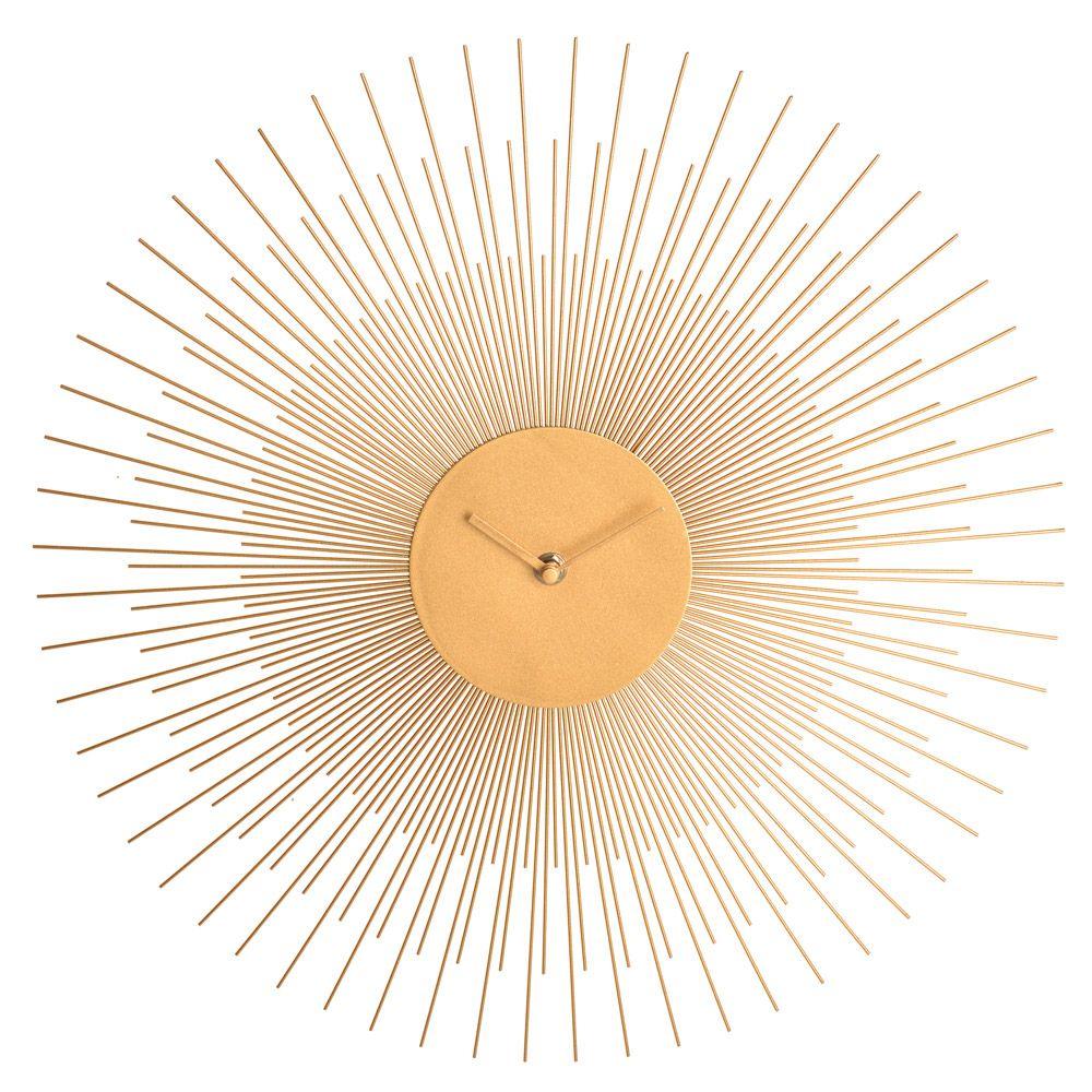 Pendule Vintage Soleil 45cm En Métal Horloge Murale