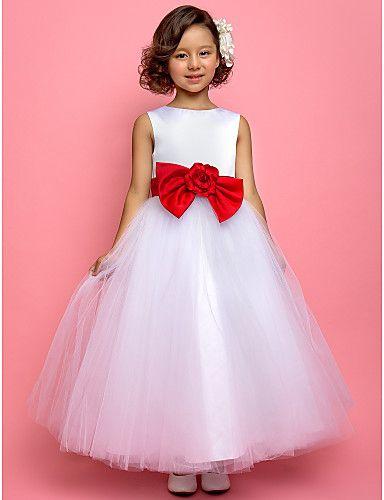 A-line/Princess Ankle-length Flower Girl Dress - Tulle/Satin Sleeveless 2016 - $64.99