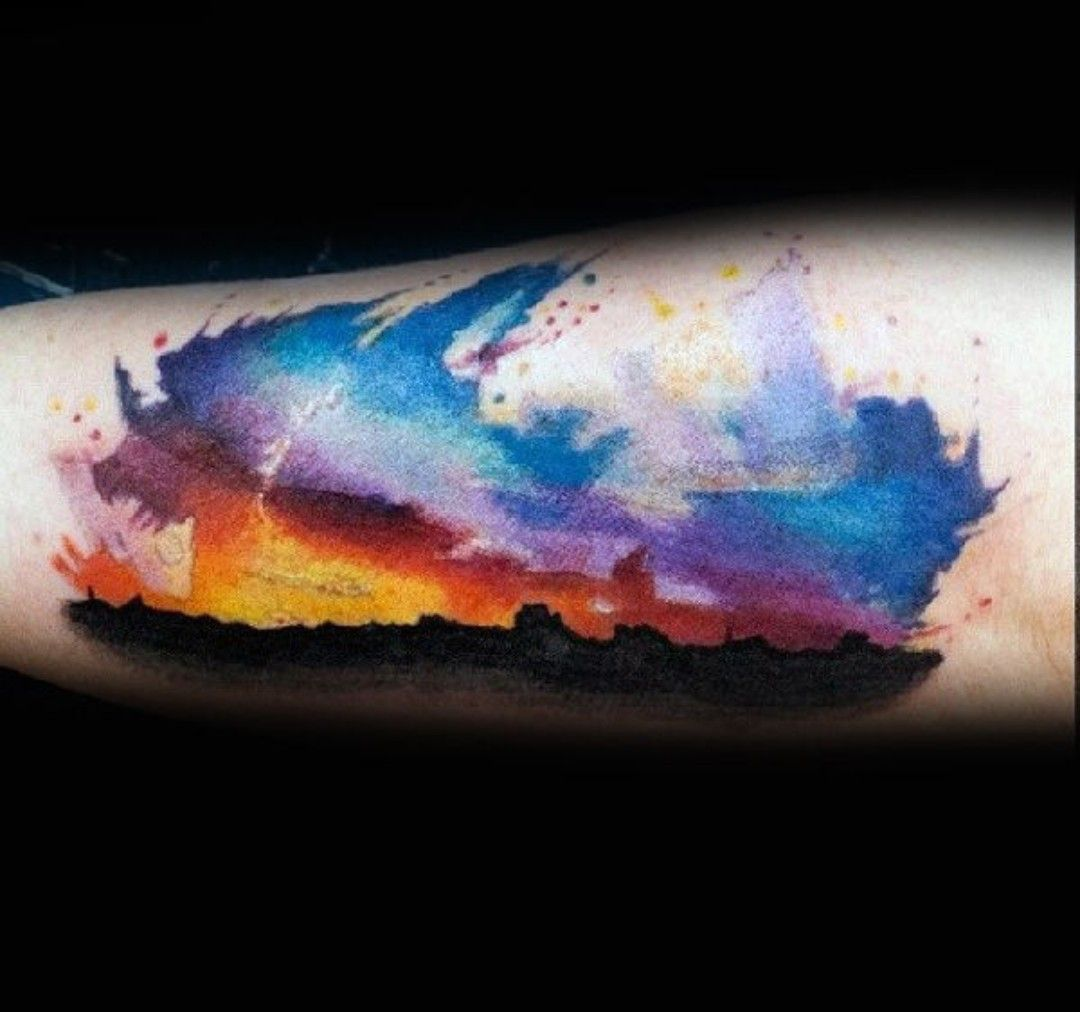 Watercolor Tattoo Sunset Sky Brilliant Colors Sky Tattoos
