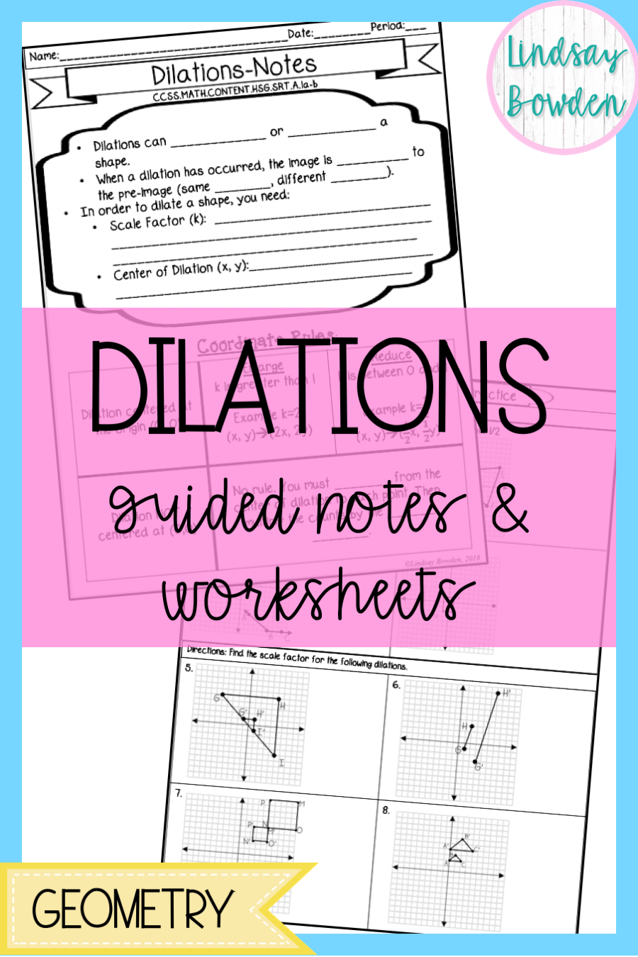 Dilations Guided Notes And Worksheet High School Geometry Notes Geometry Lessons Geometry High School