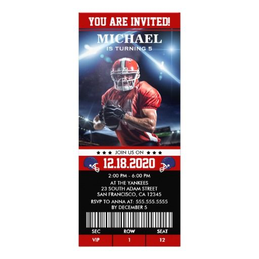 Party Ticket Invitations American Football Birthday Party Ticket Invitation  Party Tickets .