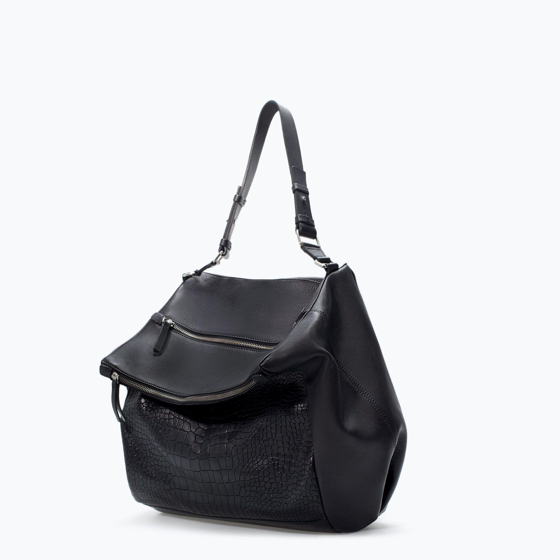 ZIP APPLIQUE LEATHER BUCKET BAG from Zara