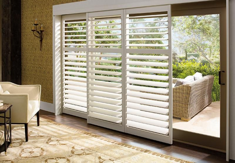 Plantation shutter panels sliding door