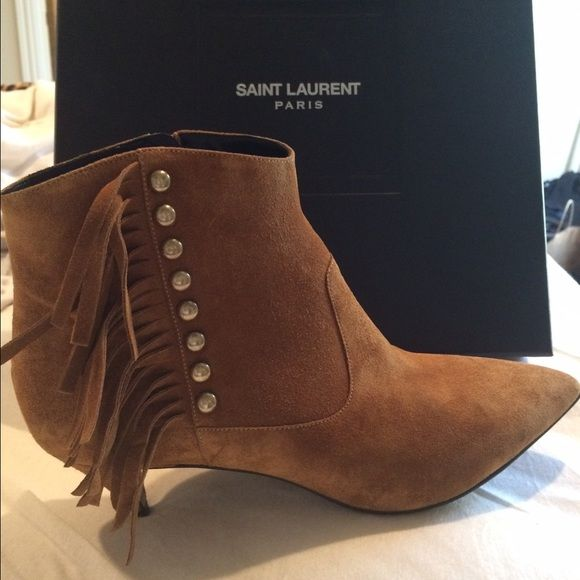 eaf991d069c YSL fringe booties size 39.5 YSL fringe booties! CAT BOOT 50 FRINGED BOOTIE  IN TAN