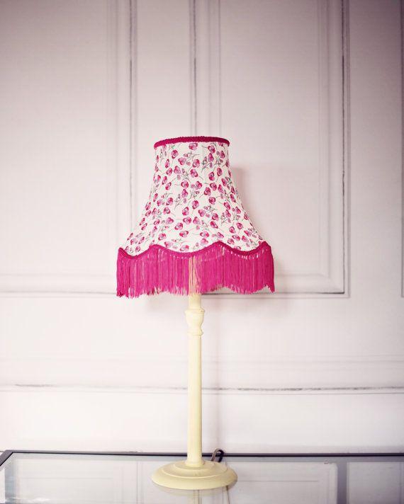 Vintage Lighting, spring lampshade, liberty fabric lamp, fringe ...